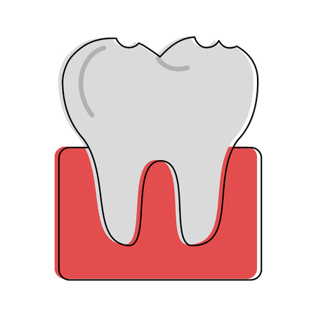 molar tooth dentistry related icon image vector illustration design