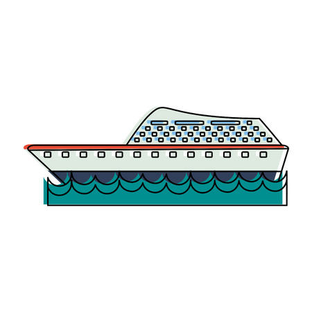 ship on water sideview icon image vector illustration design Illustration