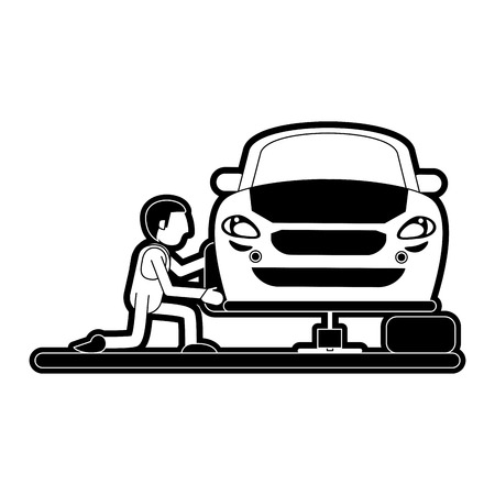 worker changing car tire workshop icon image vector illustration design  black and white Illustration