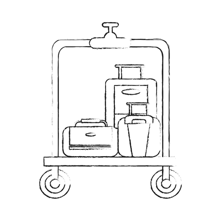 suitcases on luggage cart hotel related icon image vector illustration design  sketch style