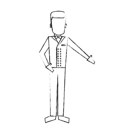 bellman avatar hotel related icon image vector illustration design  sketch style