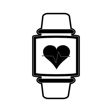 heart rate wrist monitor fitness band icon image vector illustration design  black and white