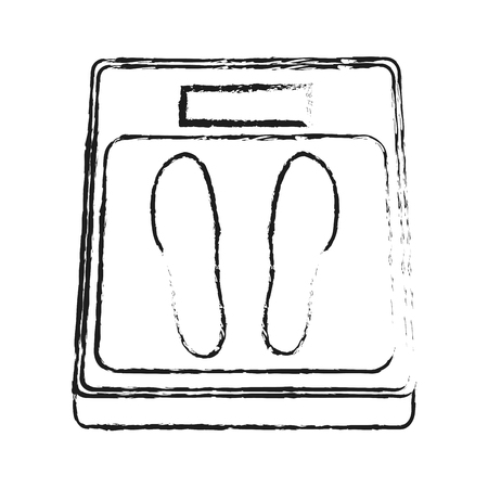 weight scale icon image vector illustration design  sketch style