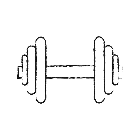 sports equipment: dumbbell fitness related icon image vector illustration design  sketch style