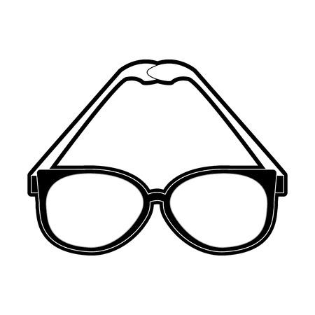 classic frame glasses icon image vector illustration design  black and white