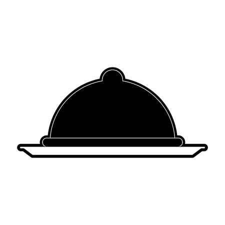 covered silver tray hotel room service related icon image vector illustration design  black and white Illustration