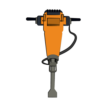 hydraulic breaker construction related icon image vector illustration design