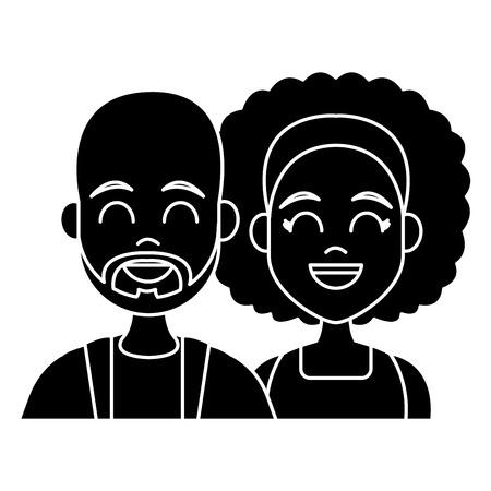 若いカップルの漫画のアイコンベクトルイラストグラフィックデザイン