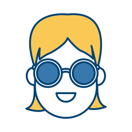 Young woman cartoonwith sunglasses icon vector illustration graphic design