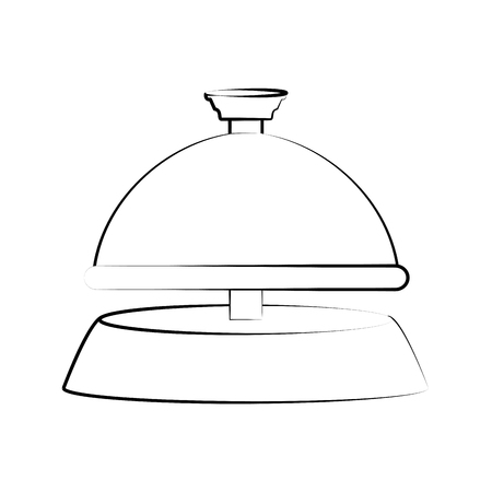 reception bell hotel related icon image vector illustration design sketch style