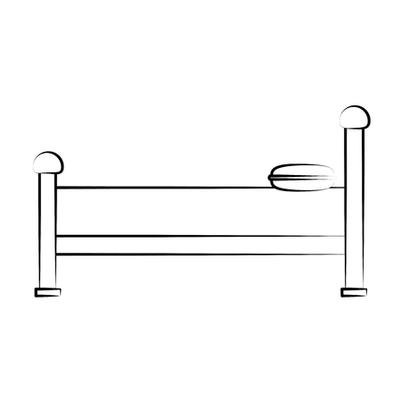 silent: bed sideview icon image vector illustration design sketch style