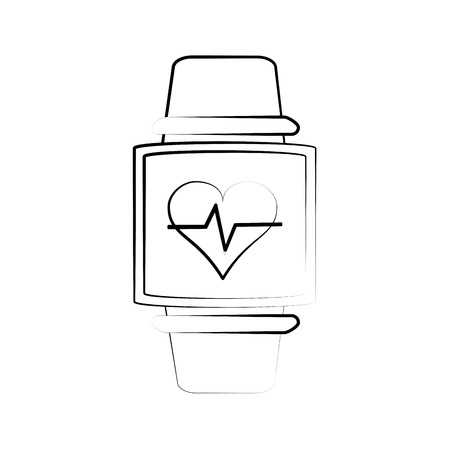 heart rate wrist monitor fitness band icon image vector illustration design sketch style