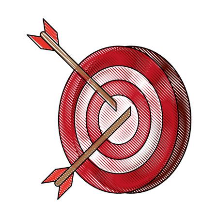 darts on bullseye icon image vector illustration design Illustration