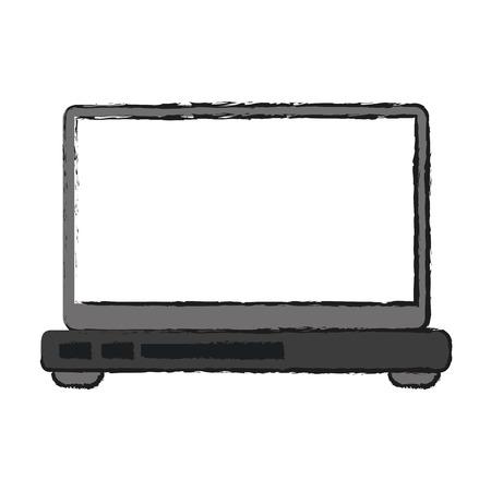 monitor: laptop computer frontview icon image vector illustration design Illustration