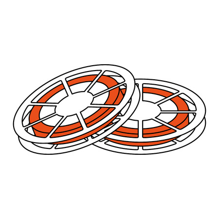 two: two tape reels icon image vector illustration design