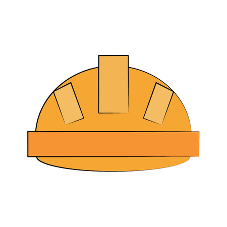 yellow helmet industrial security related icon image vector illustration design Illustration