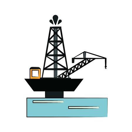 Extraction platform on water oil industry illustration. Illustration