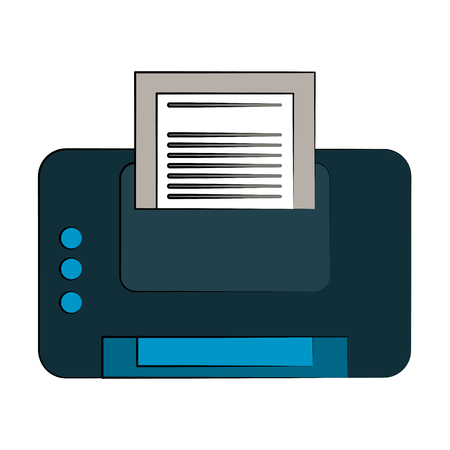 Printer with paper icon. Illustration