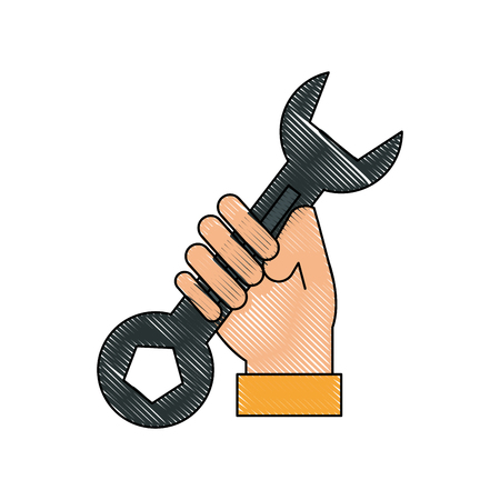 Hand holding wrench spanner tool icon. Illustration