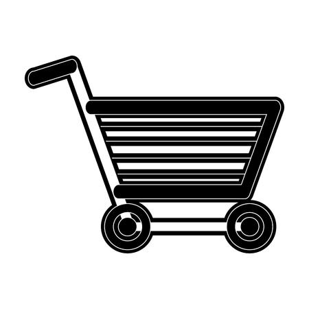 Shopping cart icon image illustration design  black and white.