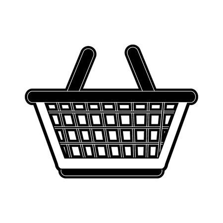 Black silhouette illustration of shopping basket icon image vector black and white design Illustration