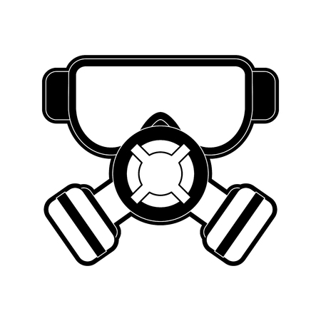 Gas mask and goggles industrial security related icon image vector illustration design  black and white Illustration