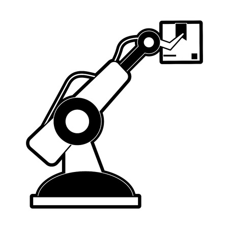 factory robot arm with cardboard box industry icon image vector illustration design  black and white