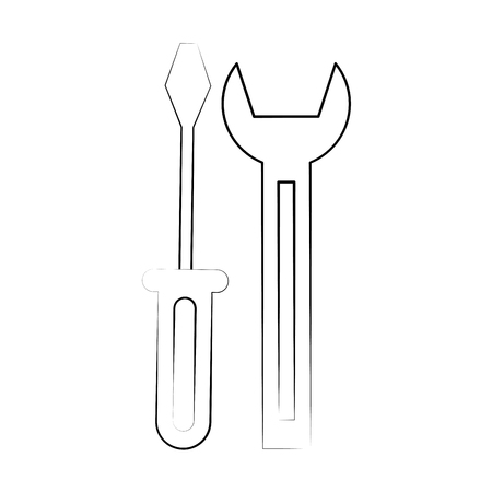 gears: wrench spanner and screwdriver tool icon image vector illustration design  black line
