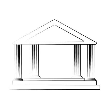 ancient greek building icon image vector illustration design  black line Ilustrace