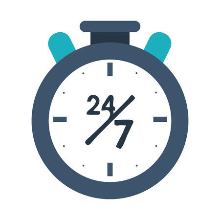 24 7 ontwerp van de het beeld het vectorillustratie van het chronometerpictogram