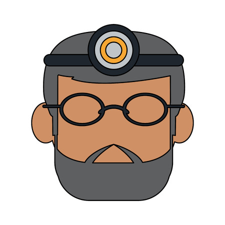 Dentist avatar with light on head dentistry icon image vector illustration design
