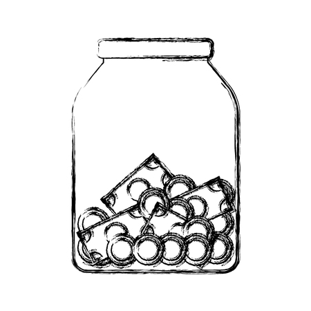 cash: Glass bottle with savings icon vector illustration graphic design.