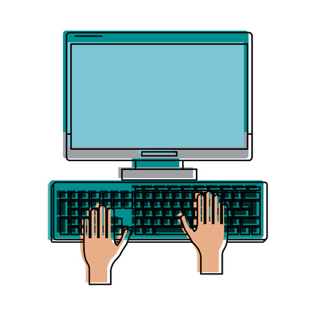 film industry: hand cursor computer with blank screen icon image vector illustration design Illustration