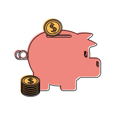 cash: piggy bank icon image vector illustration design