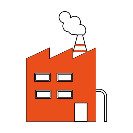 Cartoon illustration of factory building icon image.