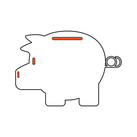 Cartoon illustration of piggy bank icon. Illustration