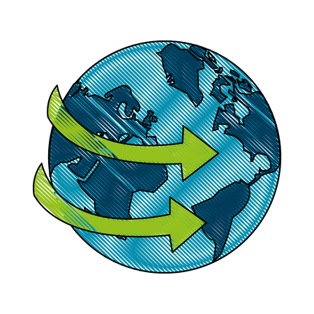 planet earth with arrows icon image vector illustration design