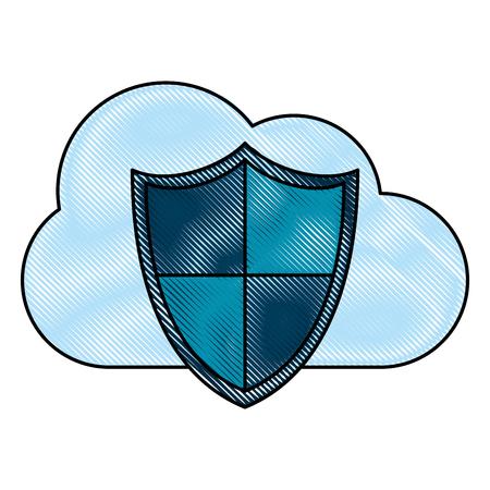 mobile device: cloud storage with shield antivirus icon image vector illustration design Illustration