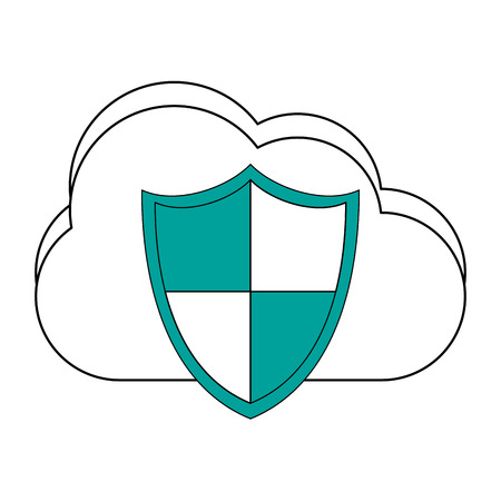 mobile communication: cloud storage with shield antivirus icon image vector illustration design Illustration
