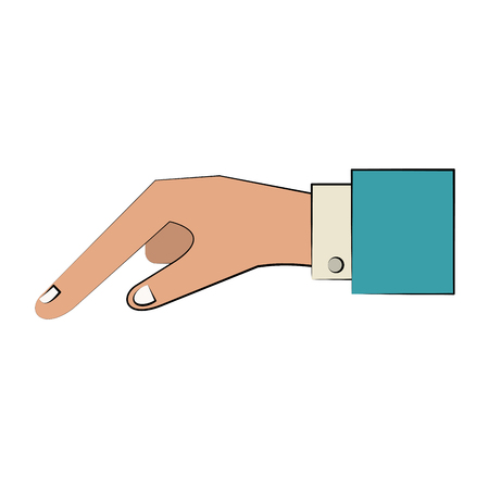 hand pointing with index finger sideview icon image vector illustration design