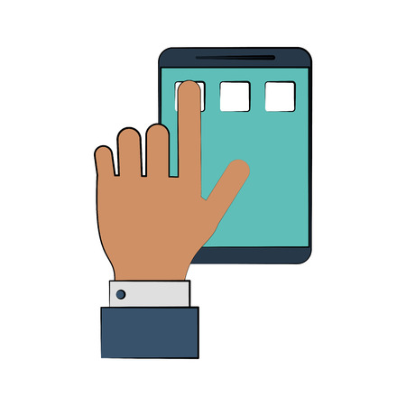 hand tapping smartphone icon image vector illustration design
