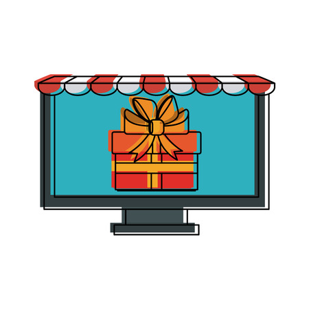 monitor: computer monitor with store shade icon image online shopping vector illustration design