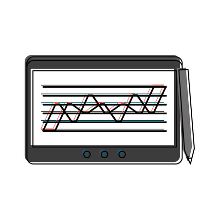 phone: graph chart on tablet screen icon image vector illustration design
