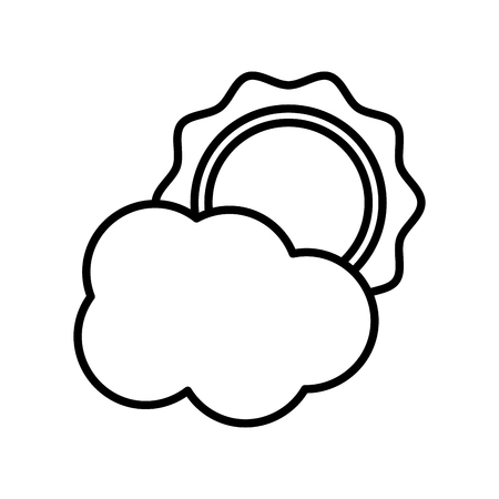 Sun and cloud weather icon vector illustration graphic design Illustration