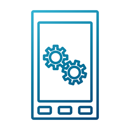 gears: Smartphone mobile technology icon vector illustration graphic design
