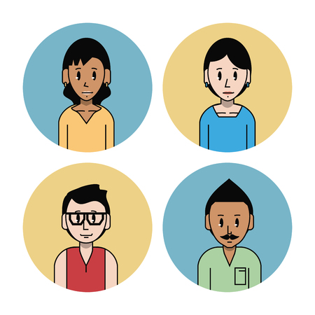 Young friends cartoons set icon vector illustration graphic design