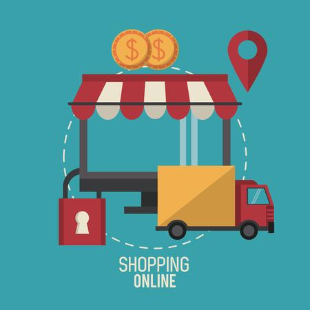 cash: Shopping online business icon vector illustration graphic design Illustration