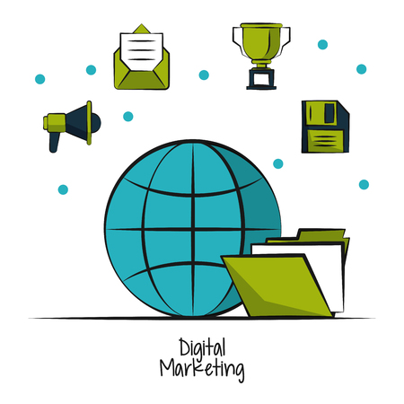 Digital marketing and business icon vector illustration graphic design Illustration