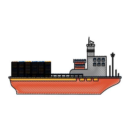 vrachtschip met containers pictogram afbeelding vector illustratie ontwerp