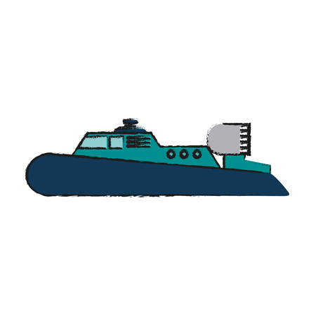 Motor boat with roof icon image vector illustration design